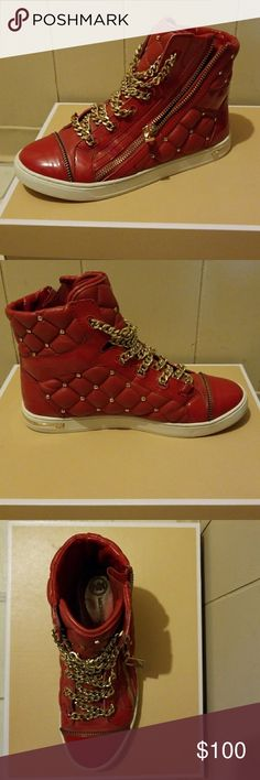 Michael kors women sneaker high tops Red leather, rubber outsole, size 6, gold colored chain laces Michael Kors Shoes Sneakers