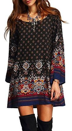 Womens Bohemian Vintage Floral Printed Ethnic Style Loose Casual Tunic Dress XXLFBA Black *** To view further for this item, visit the image link. (Note:Amazon affiliate link)