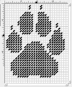 WOLF PAW PRINT - PLASTIC CANVAS PATTERN … | Pinteres…