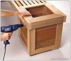 Ideas For Garden Furniture Diy Bench Planters Planter Bench, Diy Bench, Planter Boxes, Planter Ideas, Outdoor Projects, Garden Projects, Wood Projects, Garden Ideas, Wooden Planters