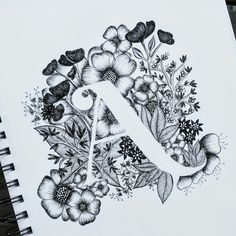 Typography, calligraphy, flowers, alphabet, A