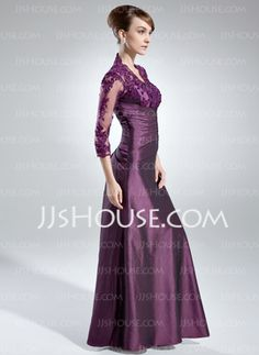 A-Line/Princess V-neck Floor-Length Taffeta Lace Mother of the Bride Dress With Ruffle (008005866) - JJsHouse(in a different color though)