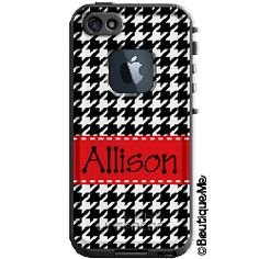 Houndstooth Monogrammed LifeProof® frē iPhone 5s Case, Personalized by Boutique Me