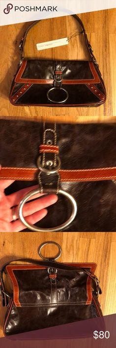 NEW Italian Leather Purse Gorgeous new with tags Italian Leather Purse in chocolate brown with lighter brown trim, gorgeous metal hardware accents, interior pocket. Measures 13 x 6.75 x 3 inches Stefano Genovese Bags