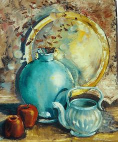 "Still life: ""Brass tray, pots, apples"" o/c  20x16 by Katherine Cook"