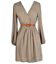 Cute Beige Dress, Beige Safari Dress, Safari Style Dress, Belted Safari Dress, Beige A-Line Dress, Cute Fall Dress, Beige Longsleeve Dress, Taupe Longsleeve Dress, Beige Surplice Dress, Beige Crossover Dress, Beige Sundress