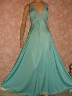 Vintage Olga Nightgown Teal Bodysilk Lacy Full Sweep Butterfly Lace  @ vintagepretties.rubylane
