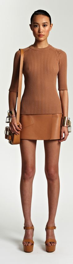 "The tan and texture nice combo ""Tan Ribbed Poor Boy Knit & Leather Slim Skirt ~Michael Kors Resort 2014 #fashion"""