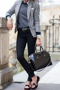 Gray blazer, colorful swetaer and black pant.
