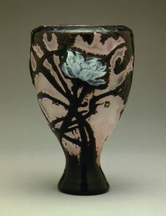 Emile Gallé, Nancy, (1846-1904), Blown, Internal Inclusions, Cased, Marquetry Inlays and Engraved Glass Vase.