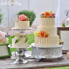 Salt Cake City (www.SaltCakeCity.com) champagne colored textured buttercream Wedding Cakes Buttercream Wedding Cake, Champagne Color, Wedding Cakes, Salt, Table Decorations, City, Flowers, Food, Champagne Colour