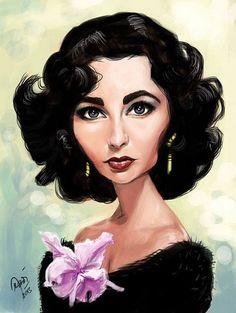 Caricatura de Elizabeth Taylor.