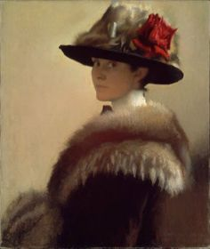 A very lovely self portrait 'Woman in Fur Hat' (c.1915) by American painter Gretchen Woodman Rogers (1881-1967). Visit it at the MFA Boston. via Artist and Studio