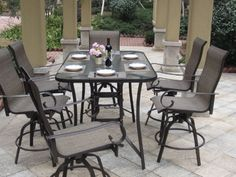 7pc Bronze Swivel Bar Height Patio Dining Set With Cover - The...