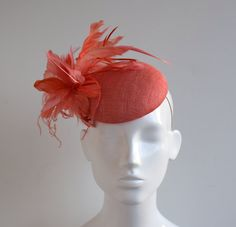 Coral Sinamay Straw Hatinator Fascinator  by TillyEllenMillinery