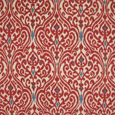 Red color Medallion and Ikat and Scroll pattern Made in USA and Cotton and Print type Upholstery Fabric called G1810 Jewel by KOVI Fabrics