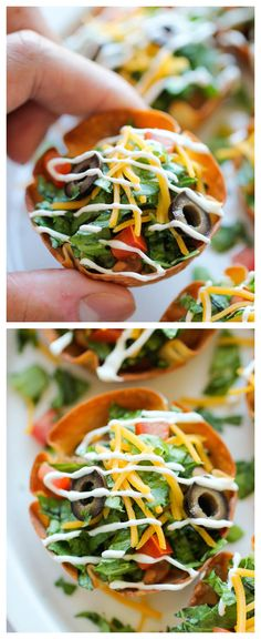 Mini Taco Salad Cups - These cute salad bowls are so fun to make, and even more fun to gobble up! Perfect as an appetizer or easy dinner!