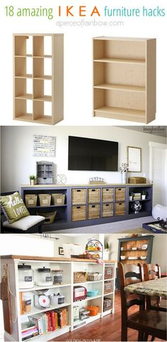 Make gorgeous custom furniture easily with 18 super creative IKEA hacks: dressers, cabinets, benches, tables, kitchen island, and more! - A Piece of Rainbow - #decoracion #homedecor #muebles