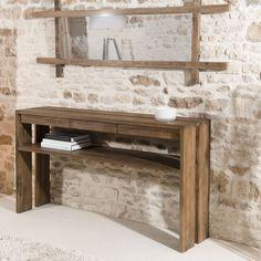 Console d'entrée en bois recyclé de teck. Ce magnifique meuble en bois recyclé offre 3 tiroirs de rangement, et 2 plateaux superposés pour y poser de nombreux objets. La console SWING sera parfaitement installée dans une entrée pour vider vos poches en rentrant chez vous, et pour y poser quelques accessoires de décoration accueillants. Largeur : 140 cm. Le meuble console SWING s'intègre dans une décoration à l'ambiance scandinave ou vintage avec la teinte du bois et ses lignes sobres. Console Vintage, Console Design, Entryway Bench, Decoration, Classic, Furniture, Dimensions, Chiffon, Home Decor