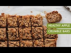 These healthy vegan apple crumble bars are gluten free and made with all natural, wholesome ingredients, like almond flour, coconut oil, and cinnamon. Spiralized apples make these bars easy and fun to make. Healthy Apple Crumble, Healthy Apple Desserts, Gluten Free Desserts, Sweets Recipes, Keto Recipes, Baking With Coconut Flour, Almond Flour, Coconut Oil, Sweets For Diabetics