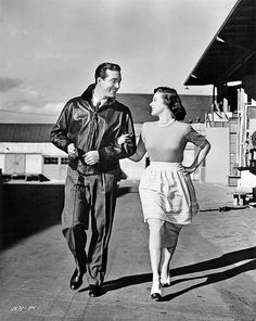"""John Payne and Susan Hayward on the backlot during production of the movie """"The Saxon Charm"""", 1948"""
