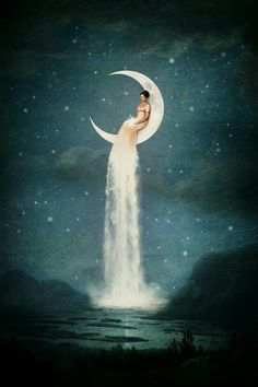 """""""Moon River Lady"""" Digital Art by Paula Belle Flores posters, art prints, canvas prints, greeting cards or gallery prints. Find more Digital Art art prints and posters in the ARTFLAKES shop. Fantasy Kunst, Fantasy Art, Ouvrages D'art, Moon River, Moon Magic, Moon Goddess, Luna Goddess, Moon Art, Moon Moon"""