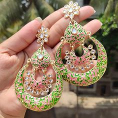 🌟This meenakari earing for just RS 440/- +shipping🌟 🌟 To buy them dm or whatsapp me @7376436197🌟…