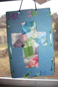 The Created Home: Stained Glass Tissue Paper Cross
