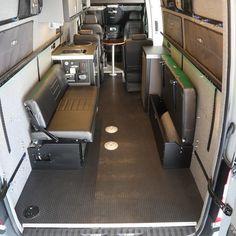58 Rear Dinette/Bed Setup for 07 Sprinter Vans - Black Vinyl – RB Components Sprinter Van Conversion, Camper Conversion, Benz Sprinter, Motorhome, Volkswagen Routan, Van Bed, Transit Camper, Folding Sofa, Folding Furniture