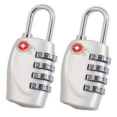 TRIXES 4-stelliges TSA-Vorh�ngeschloss x2 Zahlenschloss f�r Gep�ck, Tasche, Koffer - Silber