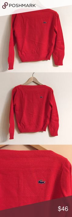 """Vintage Lacoste Boatneck Sweater Red Size XS/S Excellent condition! Vintage Haymaker Lacoste boatneck pullover in red. Has that cute little alligator emblem, of course. 100% acrylic. Made in USA. Armpit to armpit 17.25' Length 20.5"""" Sleeves 23"""" Shoulder to shoulder 13.75. This is a size 34. It would fit an XS-S. 🐊 Lacoste Sweaters"""