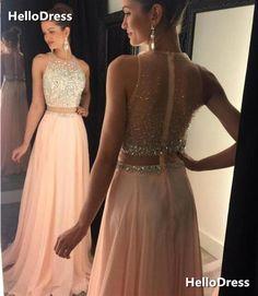 2 Pieces Prom Dress Ballkleid, Abendkleid, Chiffon Kleid, Einfache Linien,  Kleider Mode a6f9905c49