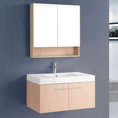 """Bosconi Contemporary 36"""" Single Bathroom Vanity Set with Mirror"""