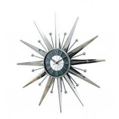 """George Nelson """"Sunray"""" wall clock in chrome.  Stunning!"""