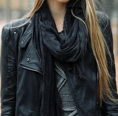 scarf leather jacket
