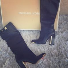 Julie Leather Knee High Boots Brand new!! Rare by now and comes with original box!! Michael Kors Shoes Heeled Boots