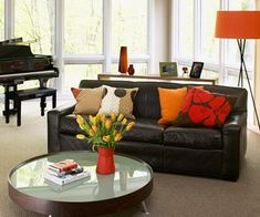 decor with black leather couch