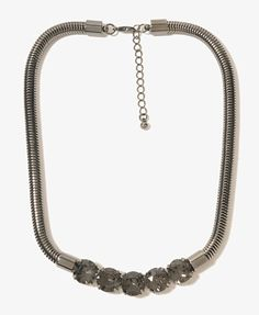 Rhinestone Snake Chain Necklace   FOREVER21 - 1000045239