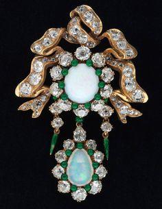 Opal brooch, circa 1885. Gold, opal, diamonds, enamel.