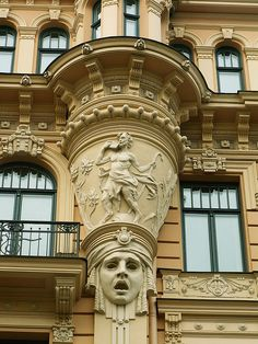 Art nouveau buildings in the old town of Riga, Latvia Art Nouveau Architecture, Architecture Details, Beautiful Architecture, Art And Architecture, Amazing Buildings, Art Deco Design, Old Town, Riga Latvia, Deco Baroque