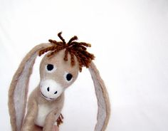 Nestor - The Long-Eared Christmas Donkey. Art Toy. Standing Felted Stuffed. beige brown tan cream.