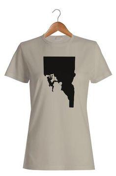 Rock Climber Woman's T-Shirt #Apparel  #GoOutLocal #OnlyinIdaho #Boise #WomensTShirt #Climb