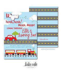Transportation Party Printable Invitation | Transportation Birthday Invitation | Car Train Birthday | Plane Birthday Party | LuluCole by lulucole on Etsy https://www.etsy.com/listing/221254050/transportation-party-printable