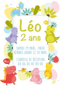 Carton d'anniversaire à personnaliser thème dinosaure, format 15x21cm, tarif sur devis avec ou sans impression #graphiste #dinosaure #garçon #fille #anniversaire #invitation #enfant #décoration #personnalisation #marseille #paris #france Marseille France, Paris France, Invitation, Email, Etsy, Design, Wedding Stationery, Impressionism, Kid