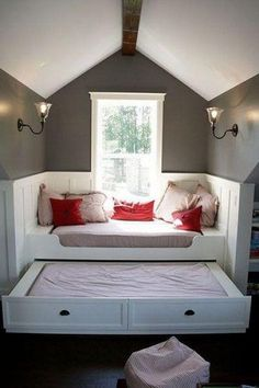 Level up a window seat by adding a trundle bed. | 43 Insanely Cool Remodeling Ideas For Your Home