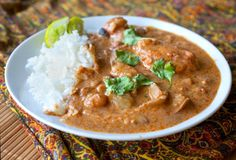 2-3 TB massaman curry paste 1 (3/4 inch thick) piece of fresh ginger, peeled and minced 1/3 cup brown sugar 3 TB fish sauce 3 TB tamarind paste 1/3 cup peanut butter 1 can coconut milk 3 TB lime juice 1 1/2 lbs chicken 1 cup chicken stock 2 cups peeled potatoes, cubed 1 1/2 cups peeled carrots, cubed Cook chicken, potatoes, and carrots in crock pot on low for 2-4 hours. Remove chicken and shred. Mix all remaining ingredients, add to crock pot, and cook 1 hour more.
