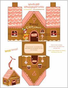 Navidad: cajas con forma de casa, para imprimir gratis.