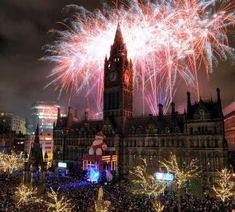 Fireworks over the Manchester Christmas Market, Manchester, England.