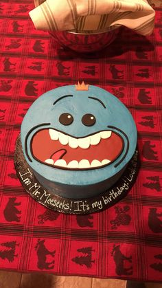 My sister made a Mr. Meeseeks cake for my 21st!