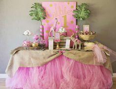 "Pink & Gold Safari Glam / Birthday ""Colbie's 1st Safari Birthday"" | Catch My Party"